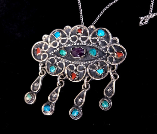 Vintage Sterling Taxco Turquoise Coral Amethyst Cloud Raindrops Brooch Pin Pendant