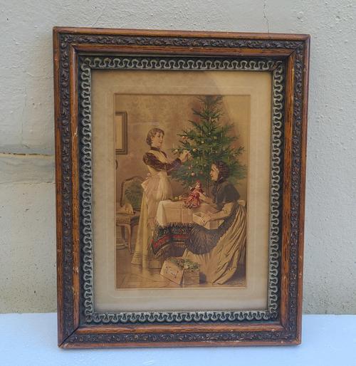 Antique Victorian Robert Beyschlag Christmas Print Chromolithograph Gesso Oak Beautiful Frame