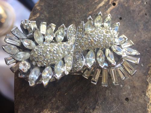 Rare Vintage Deco Jomaz Mazer Fur Clip Pr Shoe Buckle Paste Diamonte Pin 3 Pc Set