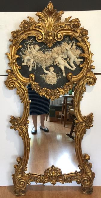 Vintage Louis XIV French Trumeau Style Gilt Gold Ornate Cherub Relief Mirror 60H