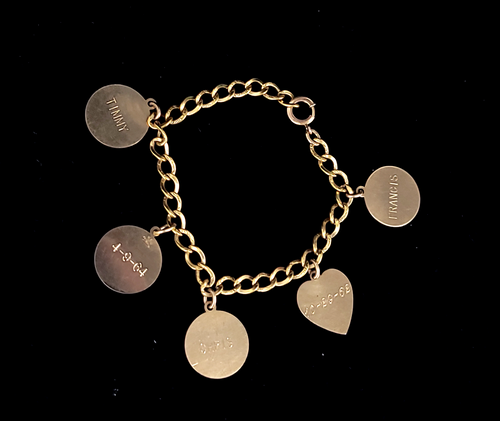 "Vintage 12k Gold Filled GF 60s Name Birthdays Round Heart Charms Bracelet 7.5"""