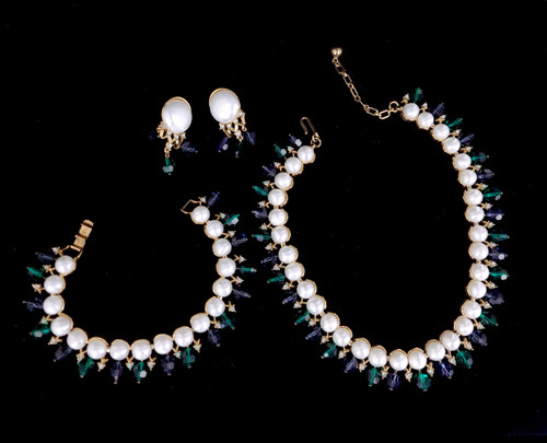 Vintage Trifari Jewels of India Mogul Pearl Swarovski Necklace bracelet Earring Set