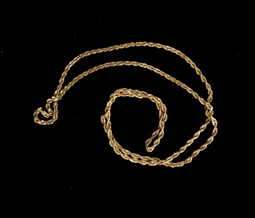 """Vintage 10k Yellow Gold Mid Century 2mm Rope Chain Minimalist Necklace 22"""""""