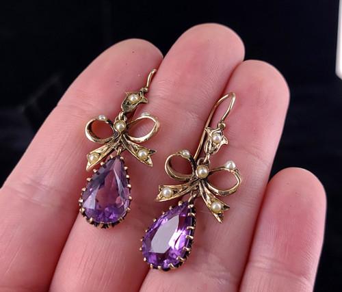 Antique 14k Yellow Gold Teardrop Amethyst Pearl Victorian Bows Drop Dangle Earrings