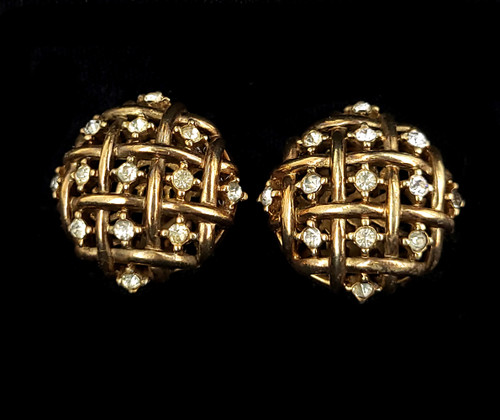 Vintage Crown Trifari Alfred Philippe Rhinestone Lattice Work Bronze Earrings