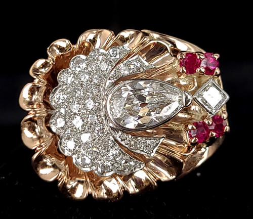 Antique Art Deco 14k Rose Gold 2.6cttw F VS1 Diamond Ruby Open Cullet Ring sz 8