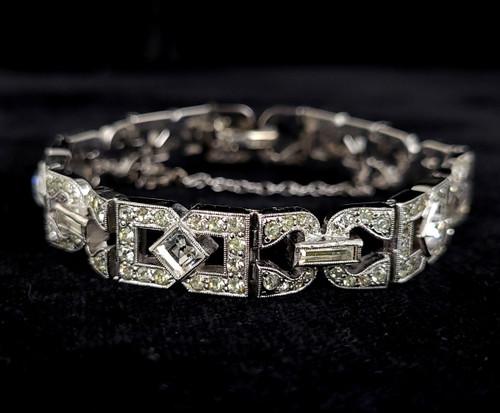 """Antique Art Deco Sterling Silver Clear Paste Rhinestone Open Work Bracelet 6.25"""""""
