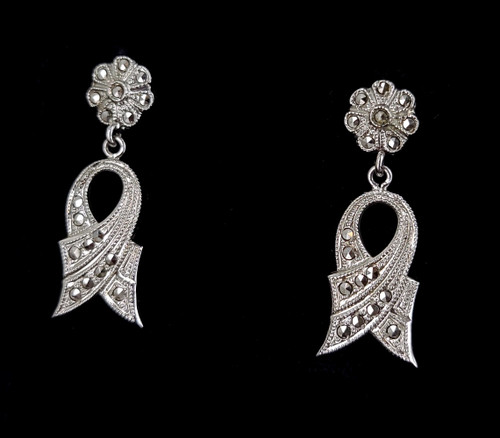 """Antique Art Deco Rhodium Plated Sterling Silver Marcasite Post Back Earrings 1.5"""""""