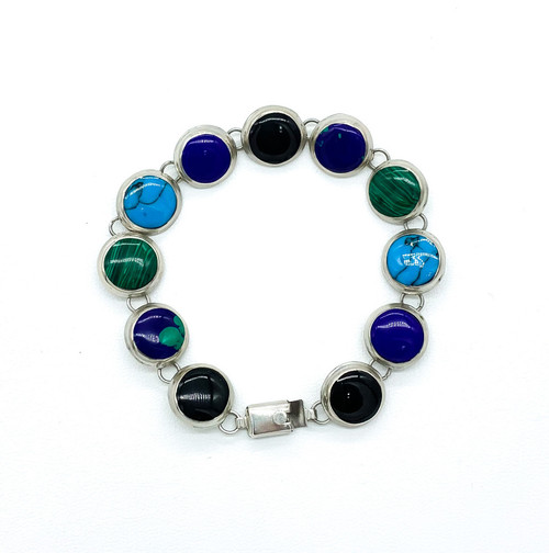 "Vintage Taxco Sterling Silver Modernist Onyx Turquoise Lapis Bracelet 6.5"""