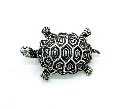 Antique Vintage Sterling Silver Figural Turtle Tortoise Animal Pin Brooch