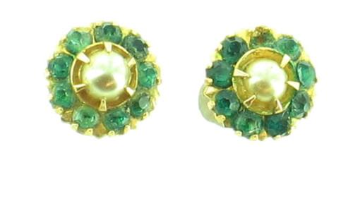Antique 10k Gold Pearl Green Paste Victorian Earrings Unusual & Pretty!