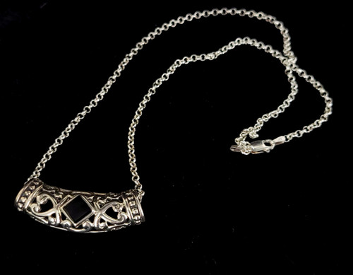 "Vintage Sterling Silver Filigree Square Black Onyx Pendant Necklace 18"""