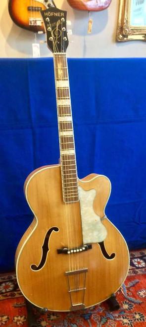 Vintage Hofner Archtop Acoustic Guitar~1950s-60s Natural Blonde Finish w/ Non Original Case
