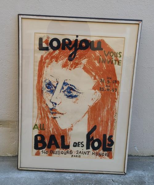 Vintage Mid-Century Lithograph Lorjou Bal des Fois Original Poster Mourlot 1959