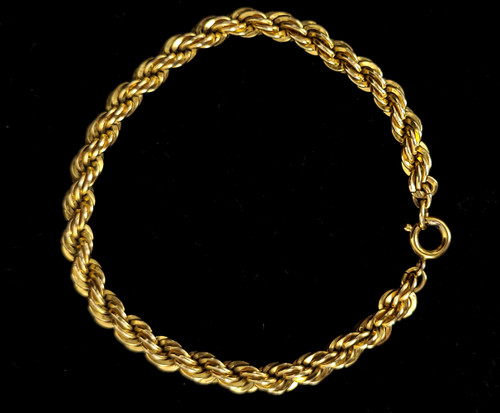 Antique 12k Yellow GF Gold Filled Thick Heavy Rope Chain Bracelet 7""