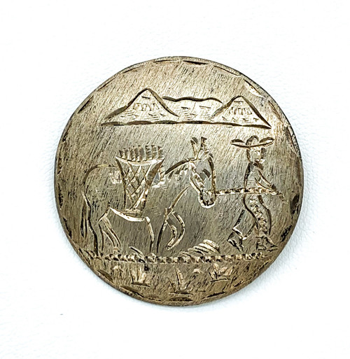 Vintage Mexico Sterling Silver Etched Mountain Man Donkey Scene Pendant Brooch