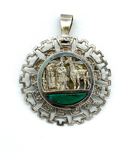 Vintage Incan Peruvian Sterling Silver Llama Scene Turquoise Pendant