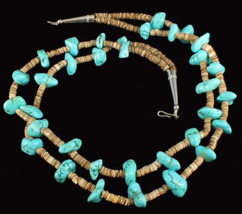 """Old Pawn Navajo Pow Wow Sleeping Beauty Turquoise Chunks Heshi Dbl Necklace 20"""""""