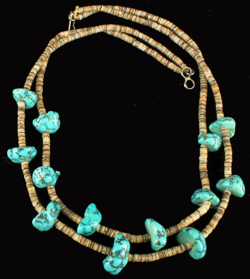"""Old Pawn Navajo Sterling Kingman Chunk Turquoise 2 Str Necklace Heshi Beads 16"""""""