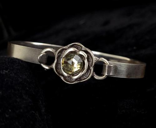 """Vintage Sterling Silver Clear Rhinestone Brutalist Floral Bangle Bracelet 6.5"""""""