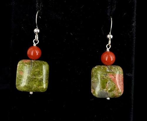 "Vintage Sterling Unakite Red Jasper Jay king Desert Trading Earrings 1.5"""