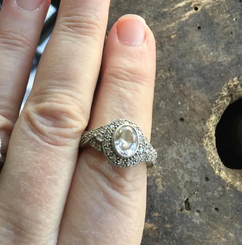 Vintage Deco Sterling Wedding Engagement Ornate Design Quartz Ring Meda Sz 8.5