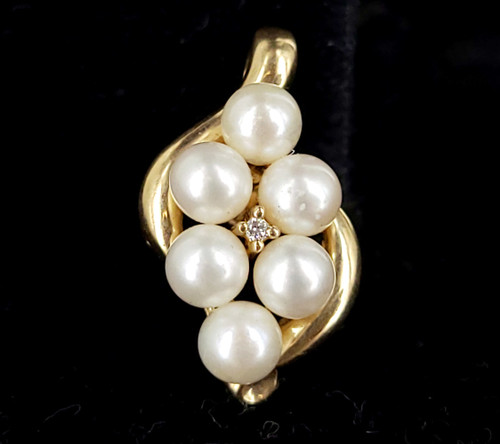 Vintage 10k Yellow Gold Diamond and Pearl Enhancer Charm Pendant 1""