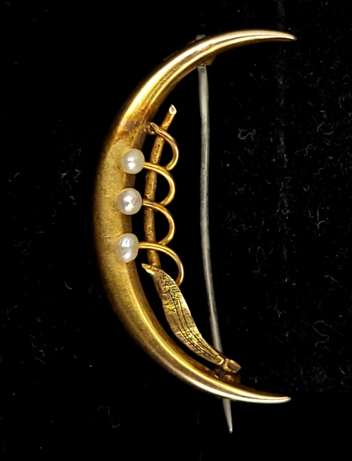 """Antique 14k Yellow Gold Victorian Crescent Moon Man in the Moon Pearl Pin Brooch 1.3"""""""