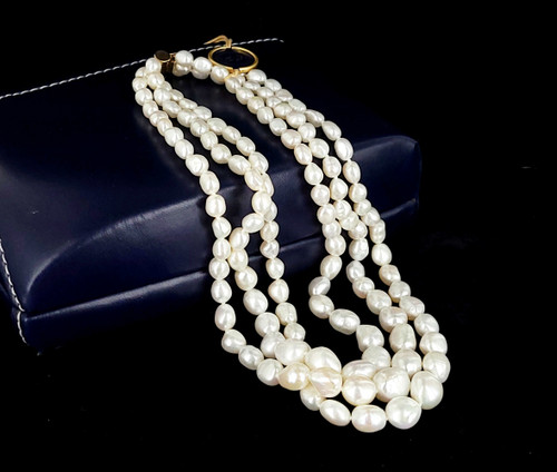 "Vintage 14k Gold 3 Strand Knotted Baroque Pearl Graduated Necklace 16"" NOS w Box"