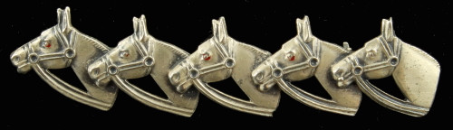 Antique Deco Sterling 5 Horse Heads Satin Finish W/ Bits & Bridles Pin 2.25""