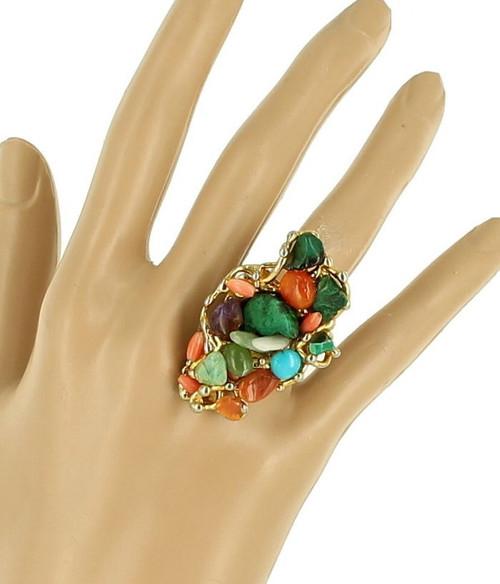 Vintage MCM Organic Statement Turquoise Jade Malachite Coral Mod Ring Swoboda?