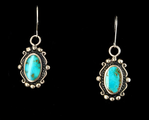 """Vintage Sterling Silver Old Pawn Royston Turquoise Drop Dangle Earrings 1.5"""""""