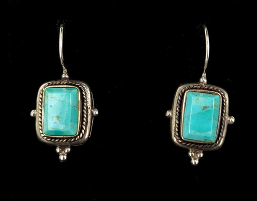 Vintage Sterling Silver Faceted Turquoise Drop Dangle Shepherds Hook Earrings 1.3""