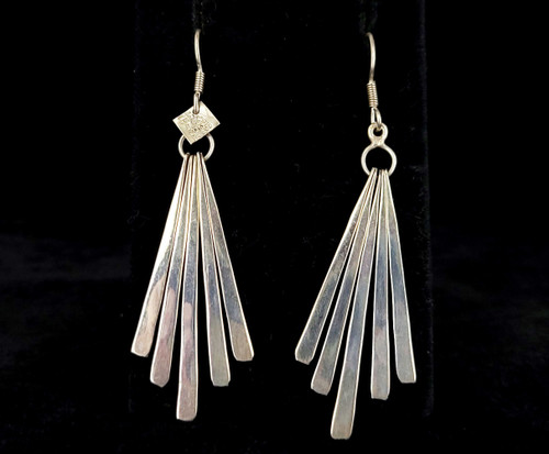 """Vintage Mid Century Sterling TS-81 Taxco Mexico Fan Design Drop Dangle Earrings 3"""""""