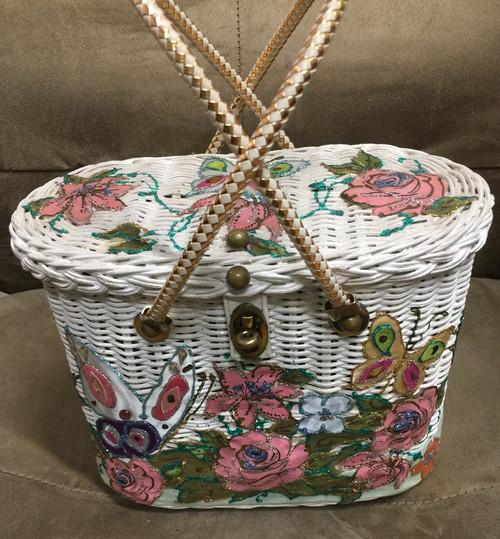 Vintage Midas of Miami Butterfly Butterflies White Wicker Basket Purse Handbag