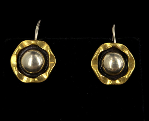 Vintage Mid Century Sterling Taxco Mexico Two Tone Silver Brass Floral Earrings 3""