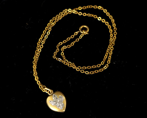 """Antique Deco Gold Filled GF Doll Child Dainty Engraved Heart Necklace 13"""""""