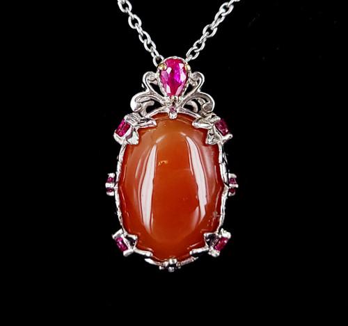 Vintage Silver Karis Carnelian Synthetic Ruby Pendant Necklace