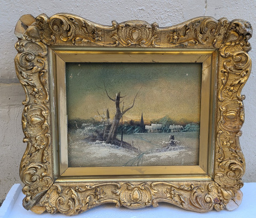 Antique Victorian Oil Painting Winter Snow Scene Houses Gold Leaf Frame