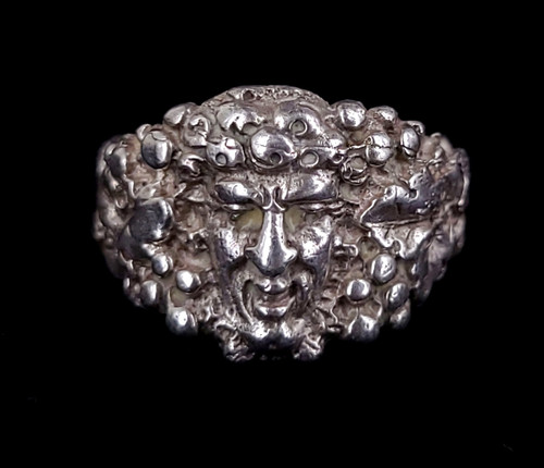 Antique Art Nouveau Sterling Silver Bacchus Dionysus God of Wine Ring Size 6.5