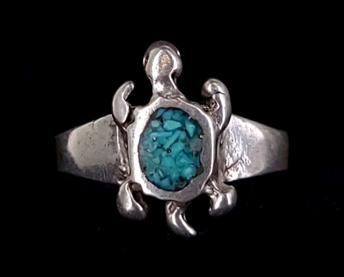 Vintage Mid Century Sterling Silver Navajo Old Pawn Turquoise Turtle Ring sz 4