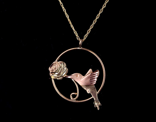 Vintage 10k Yellow Gold Black Hills Yellow Rose Gold Bird Pendant Necklace 18""