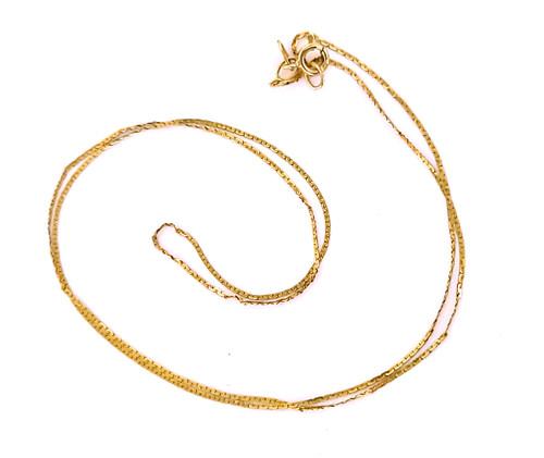 "Vintage 14k Yellow Gold Thin Herringbone Italian 70s Disco Chain Necklace 16.5"""