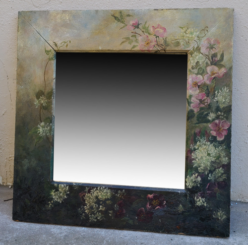 Antique Victorian Floral Oil Painting on Walnut Beveled Wall Mirror Gorgeous!