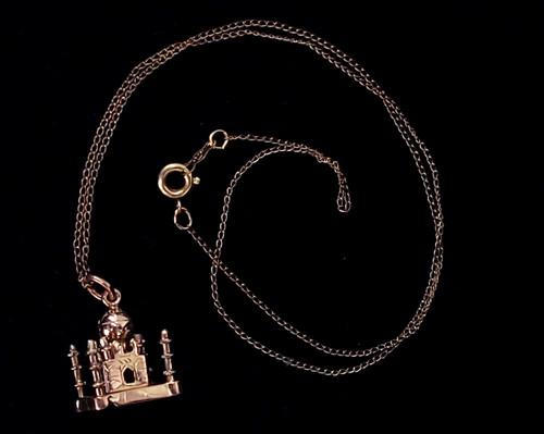 "Antique 12k Yellow GF Gold Filled Cute Taj Mahal Charm Pendant Necklace 17"""