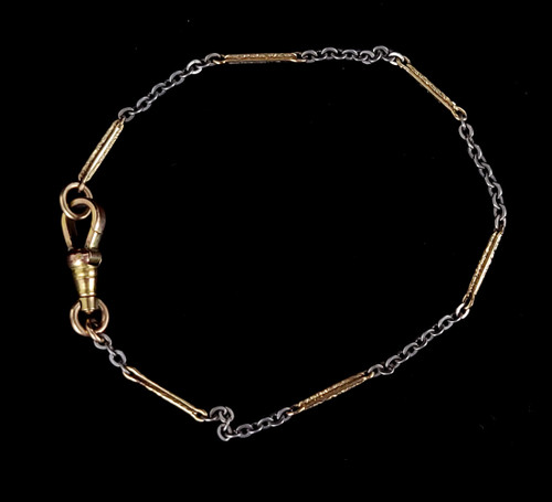 """Antique 12K Yellow White Gold Filled Victorian Rectangle Link Watch Fob Bracelet Chain 7"""""""