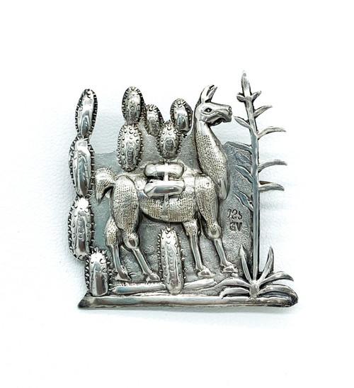 Vintage Peruvian Inca Llama Cactus Scene Sterling Silver Pin Brooch