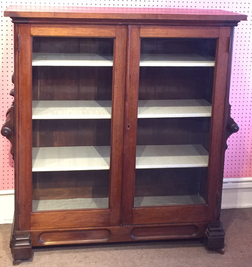 Antique Victorian Eastlake Walnut Double Door Locking Book case Cabinet Shelf Storage