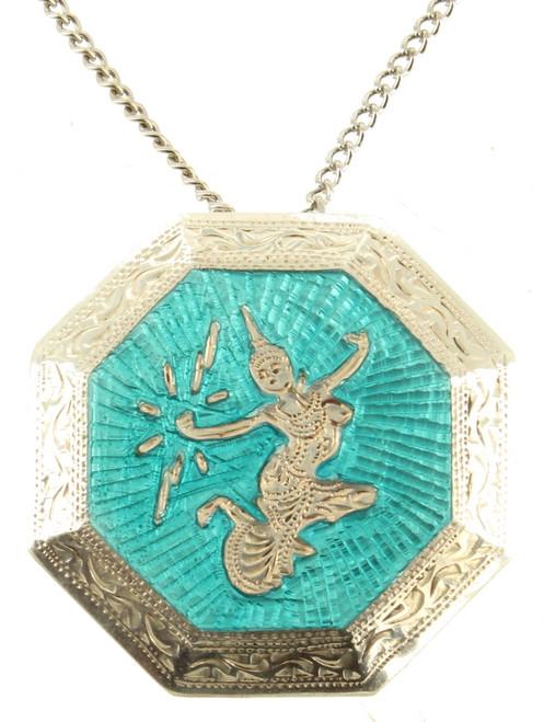 Antique Siam Sterling Aqua Blue Guilloche Enamel Asian Dancer Octagon Pin Drop