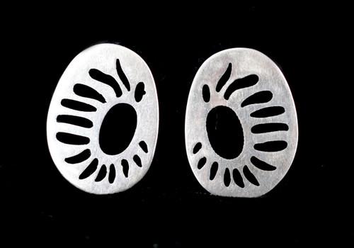 VTG Sterling Silver Modernist Abstract Black Enamel SunFlower Earrings Signed